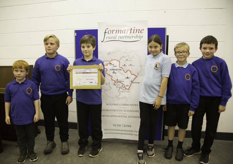 Silver gilt award - Slains School receiving their award